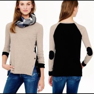 J. Crew Black and Tan sweater with elbow patches